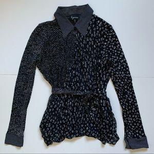Vintage silk pattern blocked wrap blouse